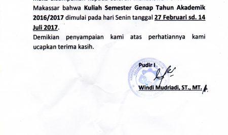 Pengumuman Perkuliahan Perdana Semester Genap 2016/2017