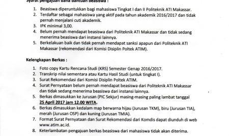 Beasiswa Dies Natalis Ke-50 Politeknik ATI Makassar 2017