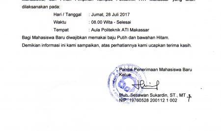 Pengumuman pertemuan Orangtua Mahasiswa Baru dan Pimpinan Politeknik ATI Makassar TA 2017/2018