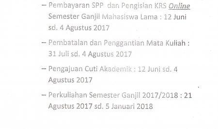 Pengumuman Pelaksanaan Perkuliahan Semester Ganjil TA 2017/2018