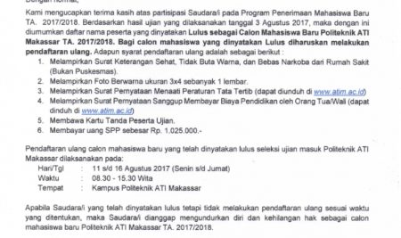 Pengumuman Tes Penerimaan Mahasiswwa Baru Gel Ke-2 Politeknik ATI Makassar