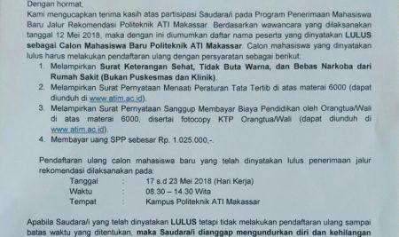 Pengumuman Hasil Seleksi Penerimaan Mahasiswa Baru Jalur Rekomendasi TA 2018/2019