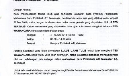 Pengumuman Hasil Seleksi Penerimaan Mahasiswa Baru Jalur UMUM TA 2018/2019