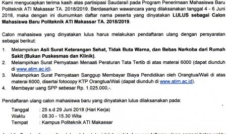 Pengumuman Hasil Tes Wawancara Jalur UMUM TA 2018/2019
