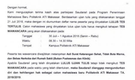 Pengumuman Tes Tertulis Politeknik ATI Makassar Gelombang II