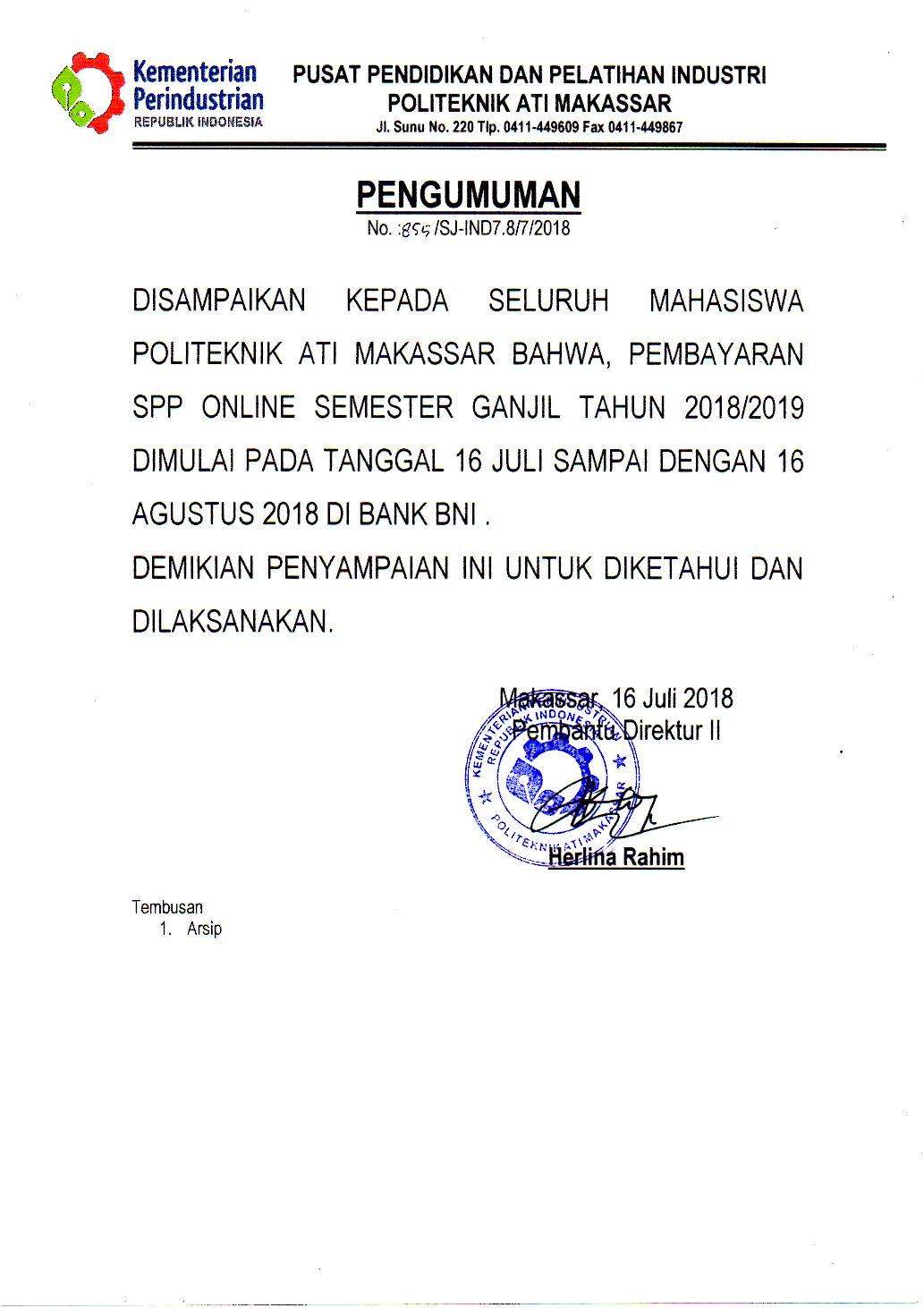 Pembayaran SPP Online Semester Ganjil Tahun 2018/2019