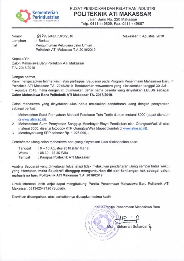 Pengumuman Tes Wawancara Politeknik ATI Makassar Gelombang II