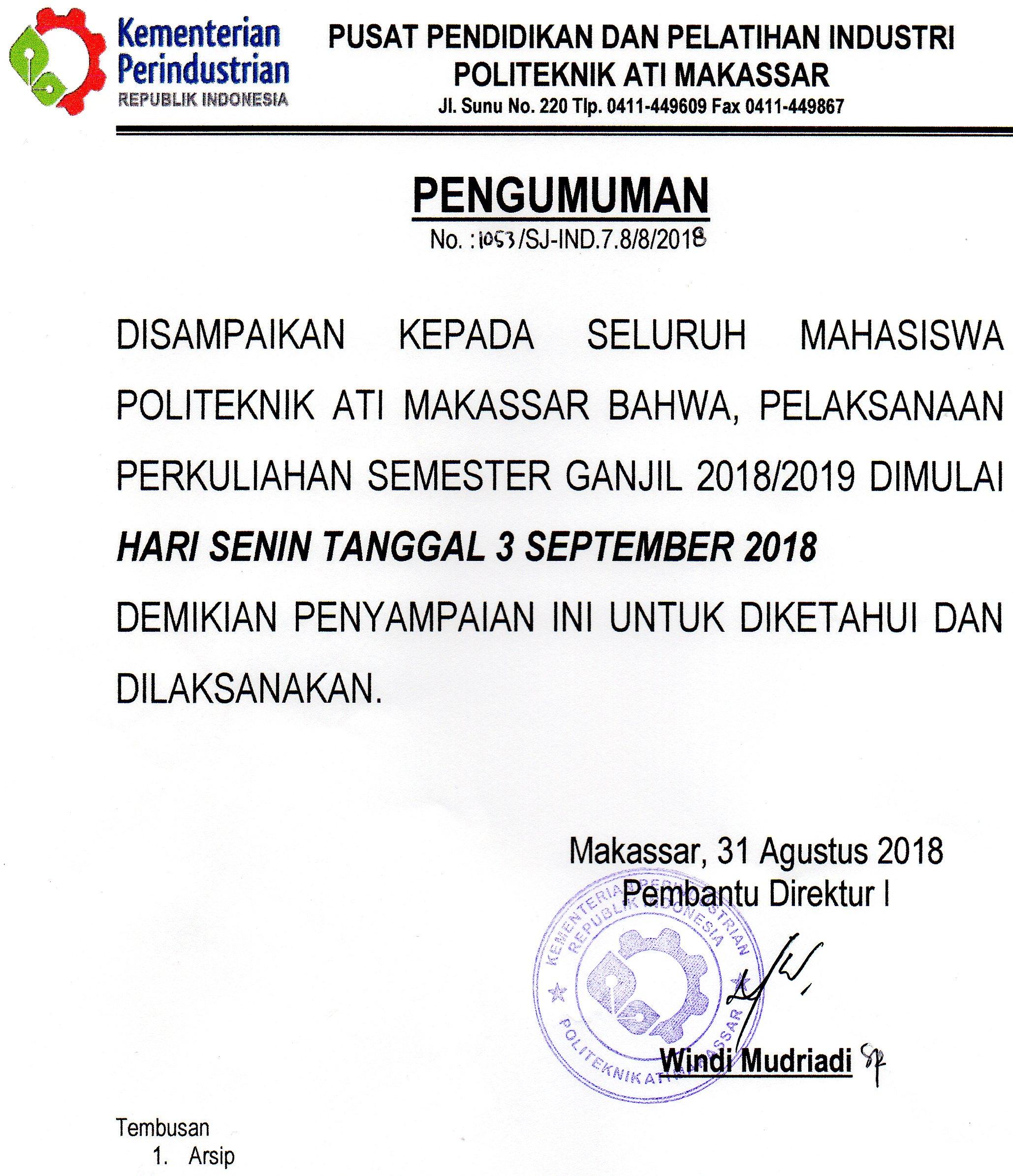 Pengumuman Kuliah Perdana TA.2018/2019