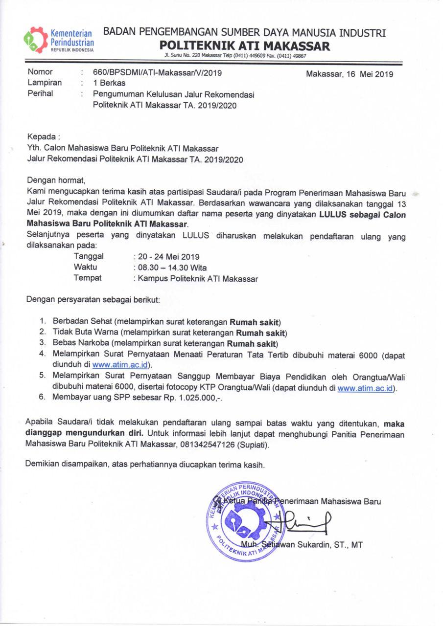 Pengumuman Hasil Tes Wawancara Jalur Rekomendasi TA 2019/2020