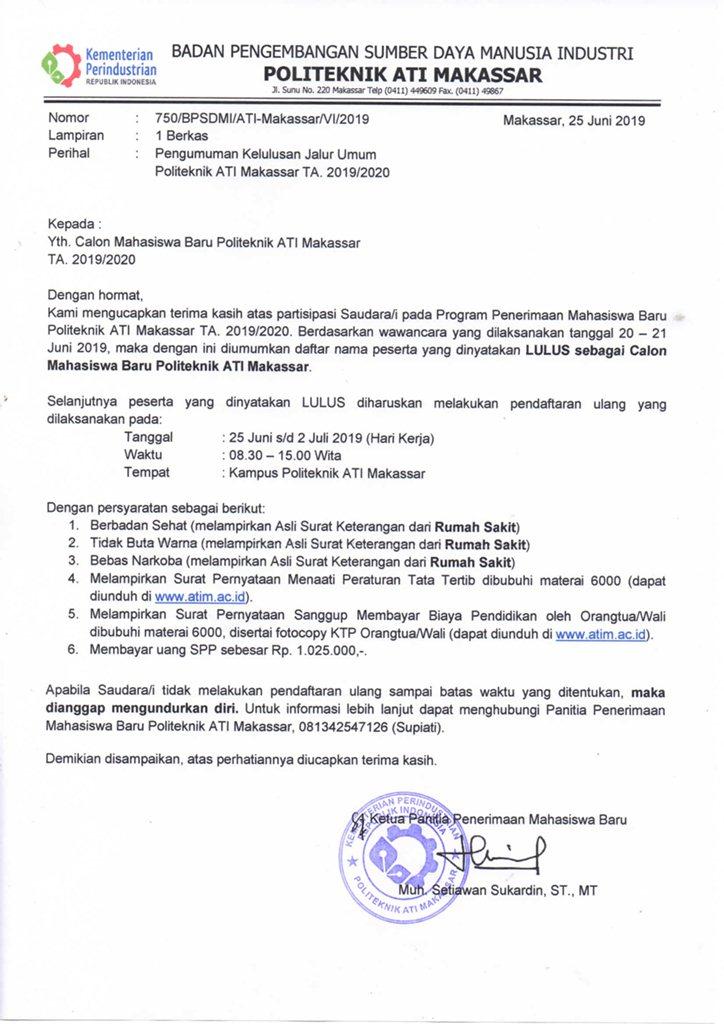 Pengumuman Hasil Tes Wawancara Jalur Umum TA 2019/2020