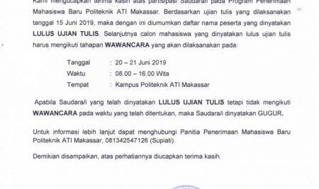 Pengumuman Hasil Tes Tertulis Jalur Umum TA 2019/2020