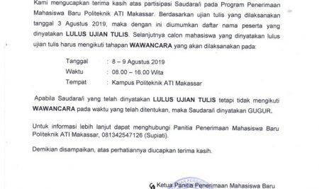 Pengumuman Hasil Tes Tertulis Jalur Umum Gel.2 TA.2019/2020
