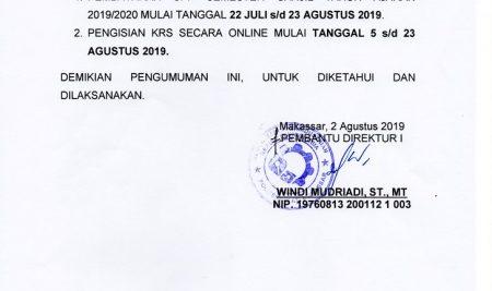 Pengumuman Pembayaran SPP dan Pengisian KRS Online  TA 2019/2020