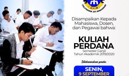 Pengumuman Kuliah Perdana Semester Ganjil Tahun Akademik 2019/2020