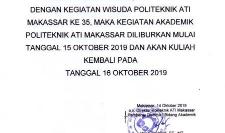 Pengumuman Wisuda TA 2019/2020 Politeknik ATI Makassar