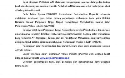 PENGUMUMAN PENERIMAAN MAHASISWA BARU 2020/2021