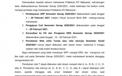 PEMBAYARAN SPP, PENGISIAN KRS SEMESTER GENAP 2020/2021DAN PERUBAHAN NILAI SEMESTER GANJIL 2020/2021