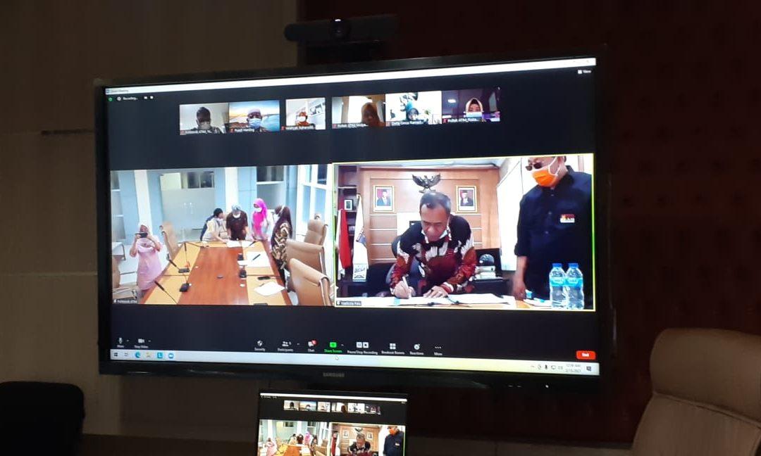 Melalui Virtual, Wali Kota Palu Hidayat Teken MoU dengan Politeknik ATI Makassar