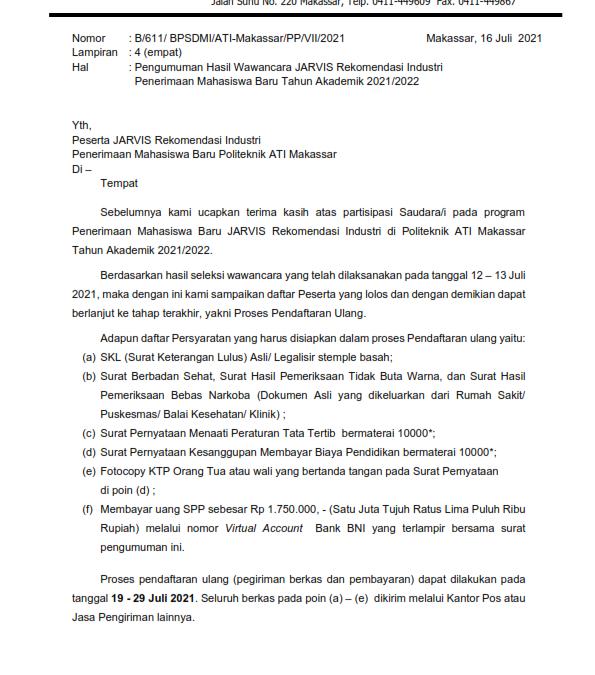 Pengumuman Hasil Seleksi Wawancara JARVIS Rekomendasi Industri TA 2021/22