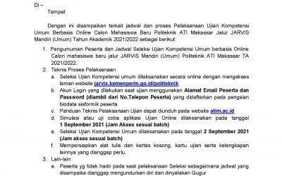 Pengumuman Peserta dan Jadwal Seleksi Kompetensi Umum Berbasis Online Calon Mahasiswa Baru Politeknik ATI Makassar Jalur JARVIS Mandiri Reguler (UMUM) T.A 2021/2022
